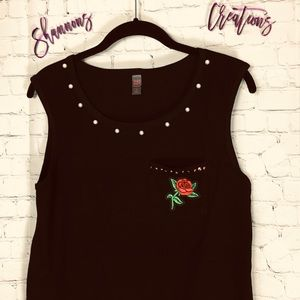 🌹 Pearl Studded Rose Tank Top 🥀